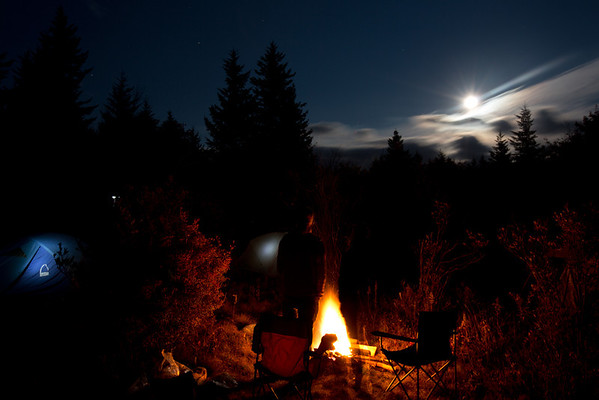 full moon-rise over camp