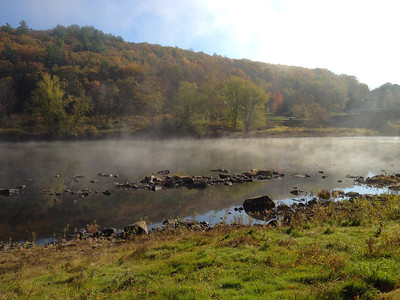 Misty Delaware River in the morning