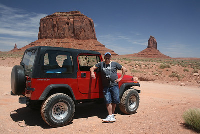 Joe and our Jeep at Monument Valley, Arizona