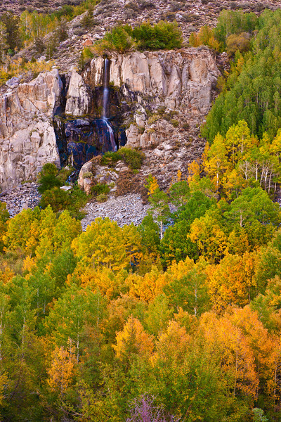 Waterfalls nestled among early fall colors