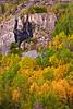 Waterfalls nestled among early fall colors