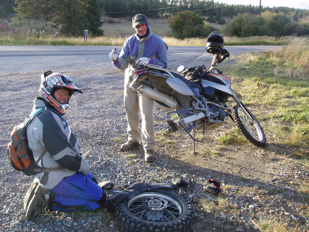 Flat tire less than 5 miles from the start of our trip.