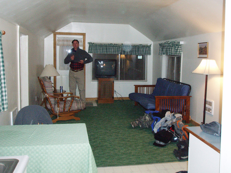 Our rental cabin for the night at Symes Hot Springs.