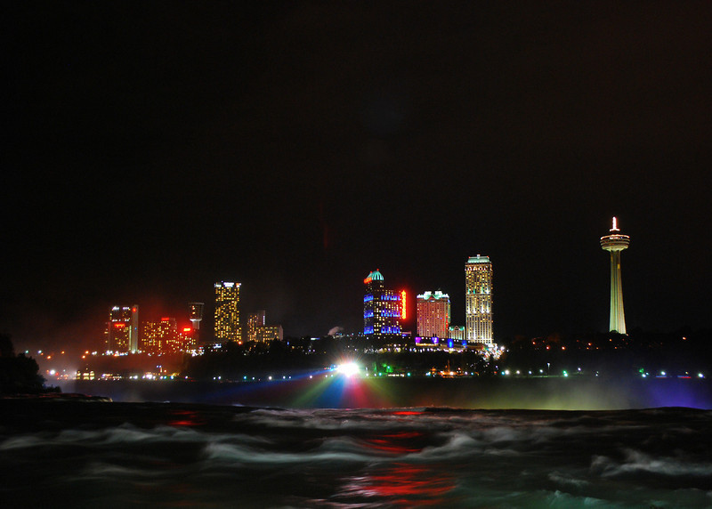 Looking over American Falls into Canada at Night