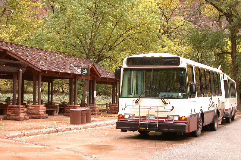 Except in Winter, all visitors must use these nice buses to move <br /> around Zion Canyon.  They run every few minutes and provide<br /> live narration.