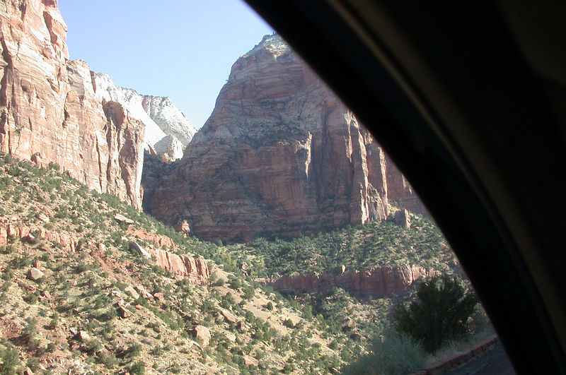 Near the 1-mile long highway tunnel that <br /> connects with roads to Bryce and North Rim<br /> national parks.