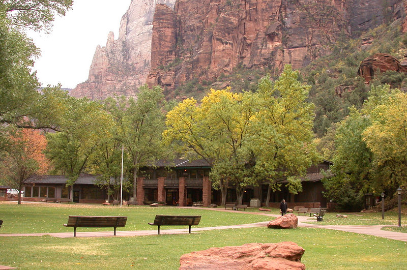 The main building of Zion Lodge.  It was rebuilt after a fire about 1990.  <br /> Only lodge guests are allowed to drive this far into the canyon.