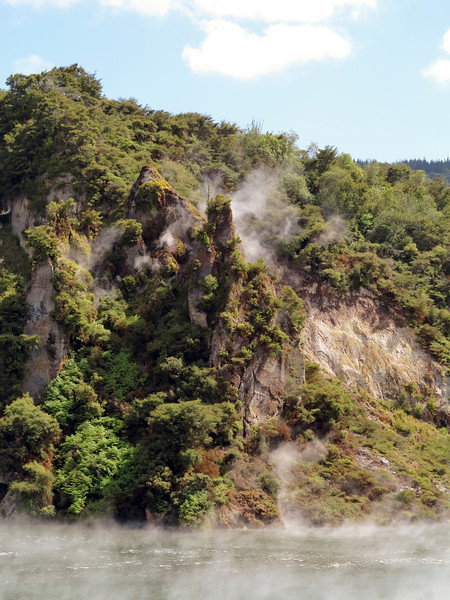 Geothermal action at Frying Pan Lake, Waimangu Valley