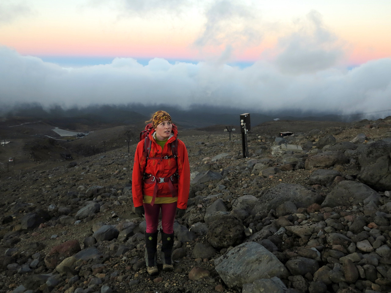 Tiff following the various infrastructure of Turoa Skifield to the top of Tahurangi, the highest summit of Mt Ruapehu