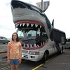 Gab and the shark-mobile outside Kelly Tarlton's, Auckland