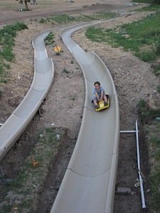 Going all out on the on the Alpine Slide,  Snow King Mountain Resort, Jackson, WY.