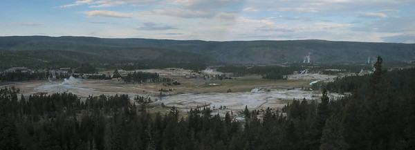 Upper Geyser Basin viewed from Observation Point, Yellowstone National Park.