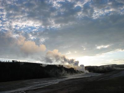 Old Faithful at sunrise, Yellowstone National Park.