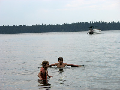 Waiting for the boat, and swimming in Jenny Lake, Grand Tetons National Park.
