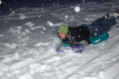 Sledding in jeans is the only way to go.