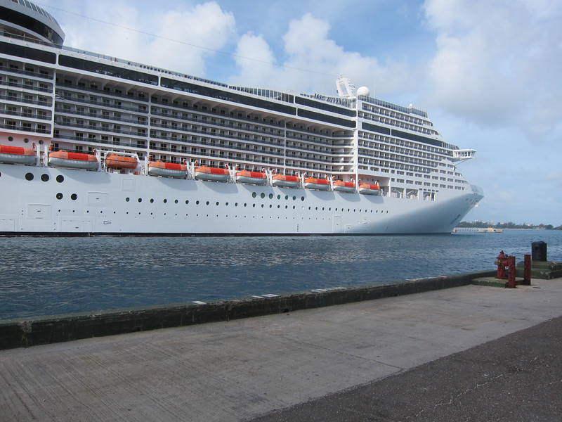 An MSC ship docked alongside the Allure.