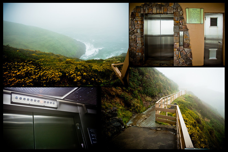 It was a windy and foggy walk to the elevator.<br> The elevator sign (top right picture) reads: Sea Lion Caves is America's largest sea cave. It is a naturally formed underground cavern accessible by elevator. This area may be subject to natural events and geologic processes such as earthquakes, erosion and landslides as well as earth, water and rock movement. Visitor agrees to assume all risks of these hazards.<br> It goes 200ft underground.