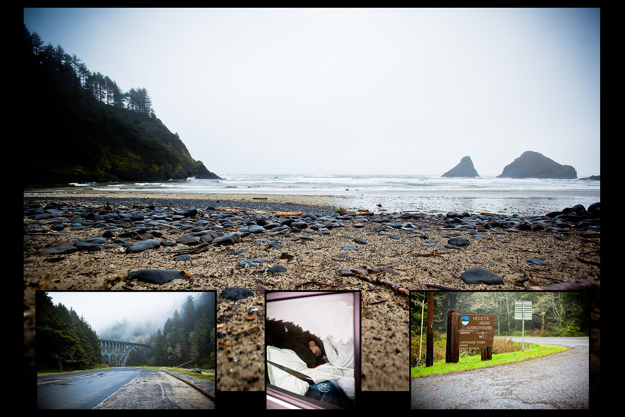 Spent the night in Lincoln City, then headed down 101 toward California.<br /> Made a quick stop at Heceta Head Lighthouse, but weather didn't make it worth staying very long.<br /> Too cloudy/foggy to bother waking Samuel up.