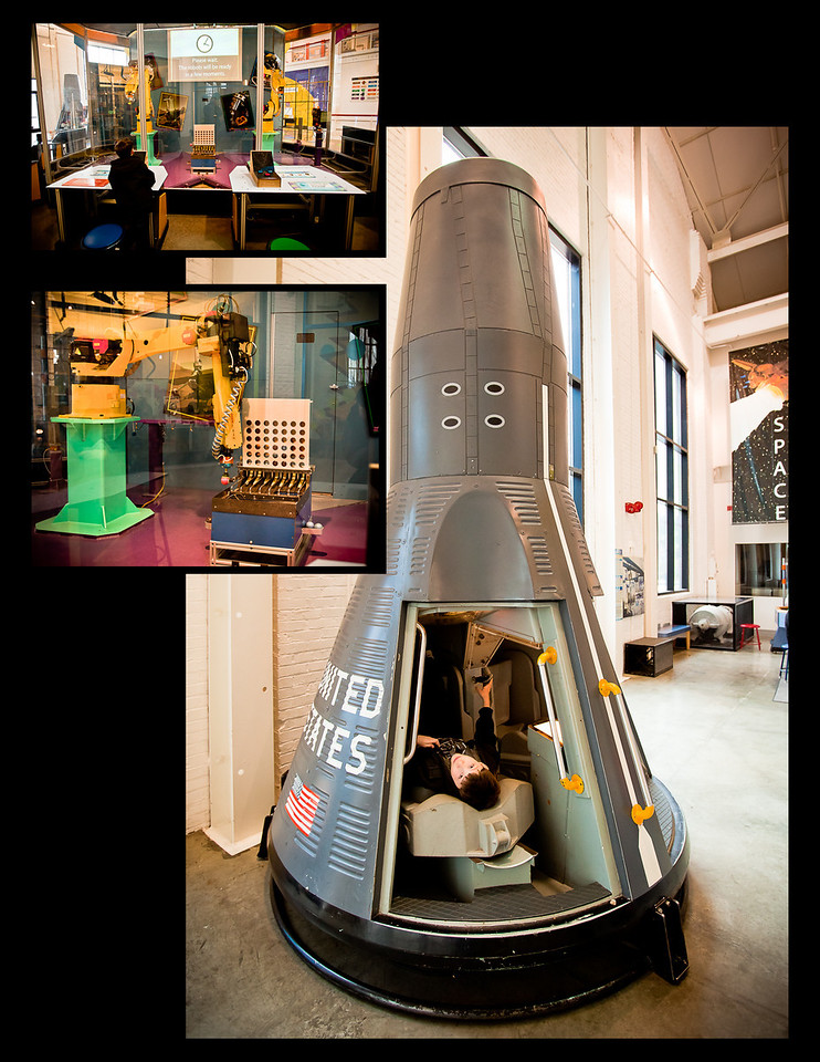 Rocket capsule, and playing 'connect four' with robots.