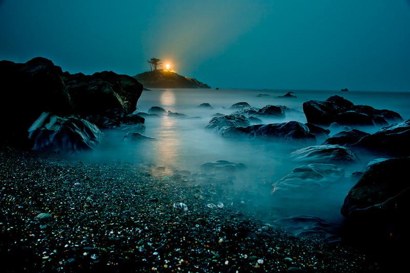 Lighthouse at Crescent City beach.