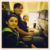 Ethan, Scott, Keira on the plane to Orlando