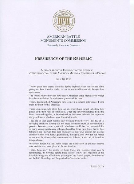 Doc  4 - American Battle Monuments Commission - Presidency Of The Republic