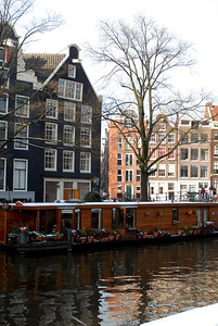 Houseboat on the canal by Anne Frank's house.  People actually live in these boats.