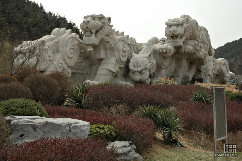 The massive statue at Tiger Beach Park in Dalian, China.