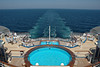 The aft view from the Sapphire Princess at sea.