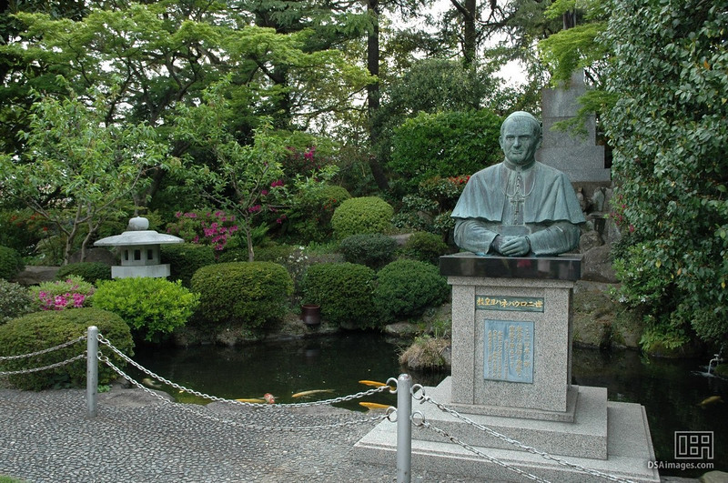 The gardens surrounding the Oura Catholic Church (Church of the 26 Japanese Martyrs) of Nagasaki, Japan.  The statue is of Pope John Paul who visited the church.