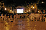 World Cup action in the square of Faro, Portugal.  Why isn't it packed?  Because Spain was playing, their historic enemies, and winning.  Pheh.