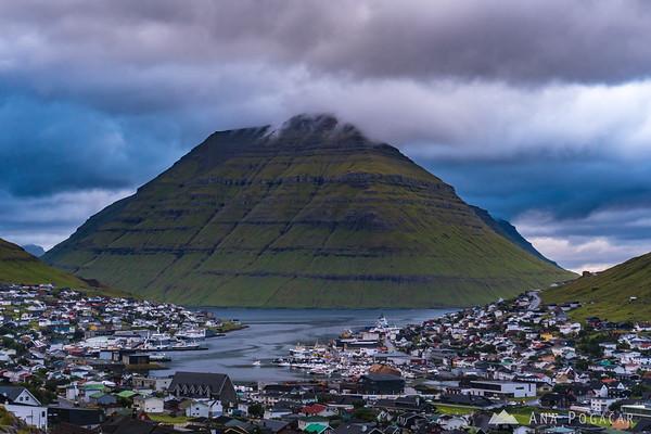 Klaksvík on a cloudy day