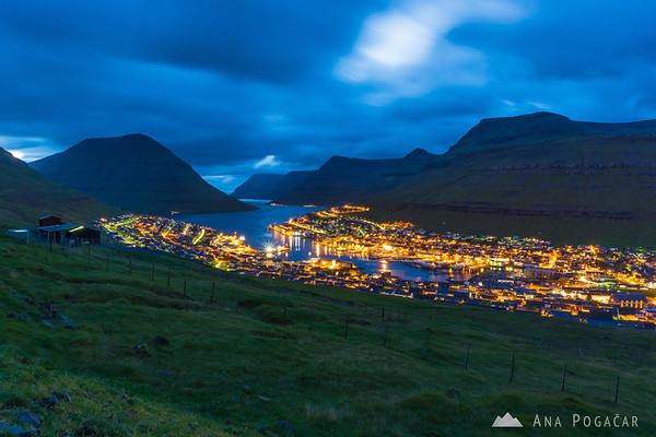Klaksvík during blue hour