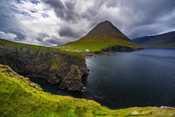 Dramatic cliffs in Viðareiði