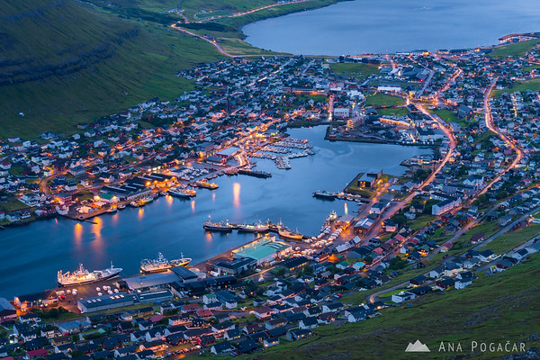 Klaksvík as seen from Mt. Klakkur during blue hour