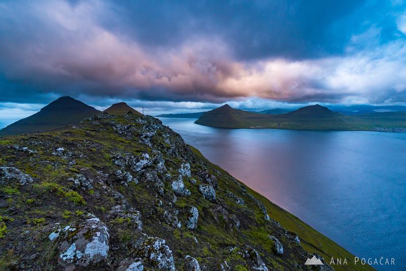 Sunset and dramatic clouds from Mt. Klakkur above Klaksvík