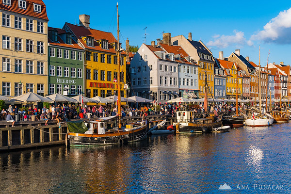 Nyhavn canal in Copenhagen on a sunny afternoon