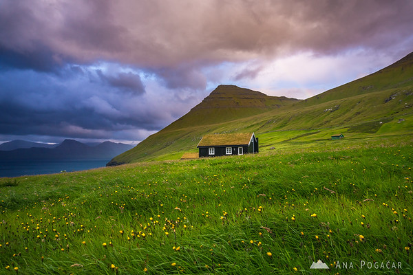 A lonely cottage in Gjógv on a rainy afternoon
