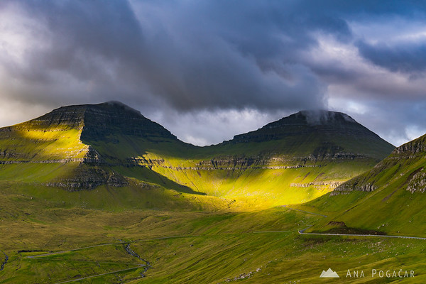 Dramatic morning light above Funningur