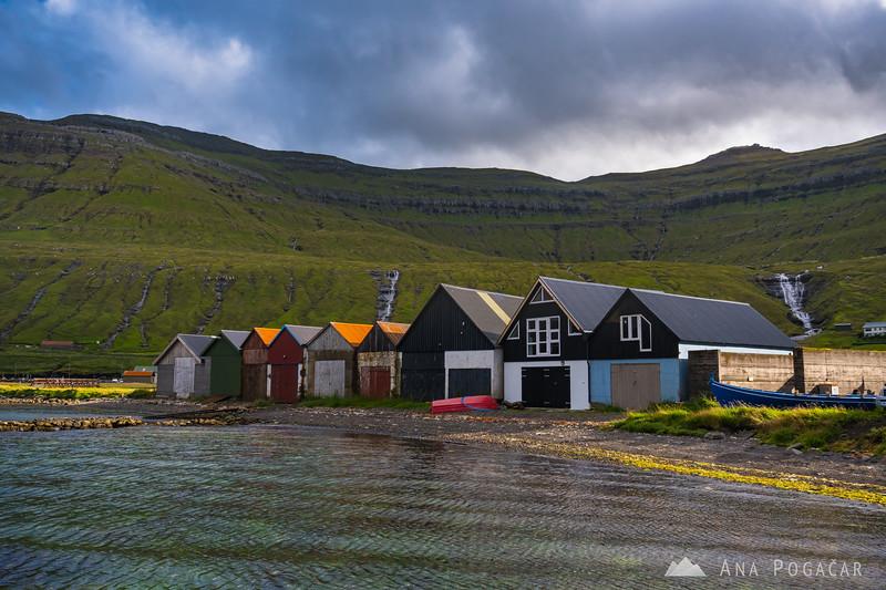 Colorful boathouses in Hósvík