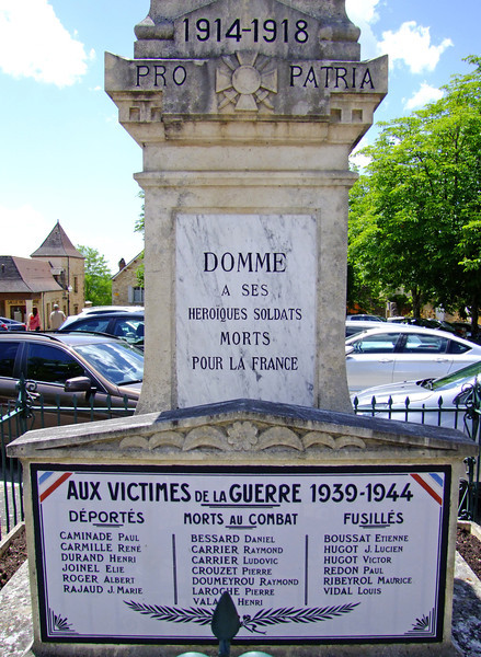 Every French town had a memorial to the many killed in WWI but with additions of those killed in WWII.  This memorial shows the names of those deported , those killed in combat, and those executed on the spot.  Apparently French resistance was especially prevalent in this area during WWII.