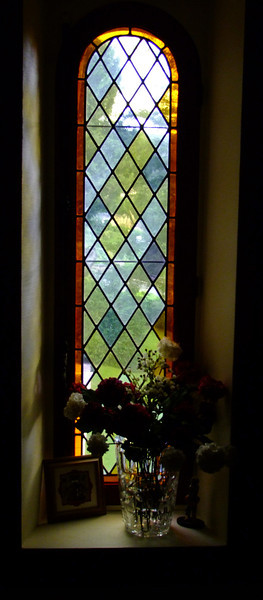 Stained glass window in our B&B.