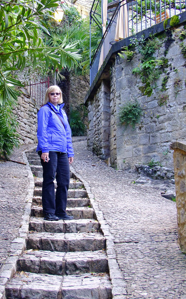 "Jan along the ancient path through the village.  We stopped for ""cafe creame"" during the hike."