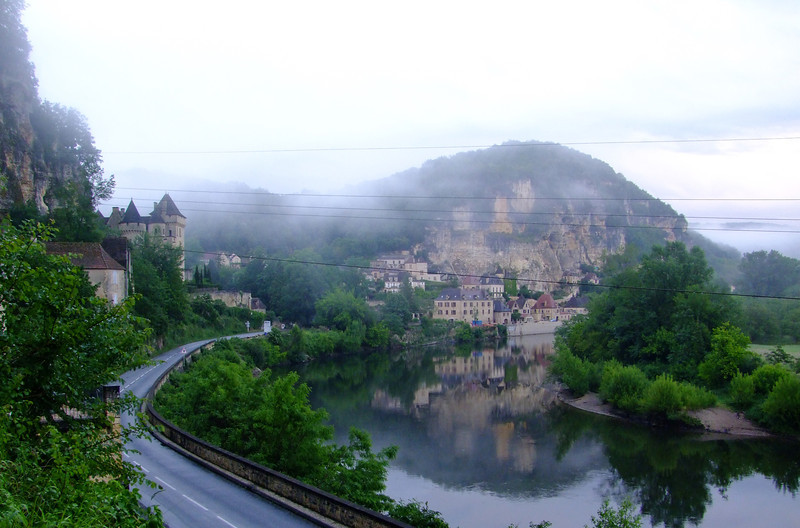 The tiny but beautiful village of La Roque Gageac.  It is nestled between the steep rocky cliffs and the Dordogne River.