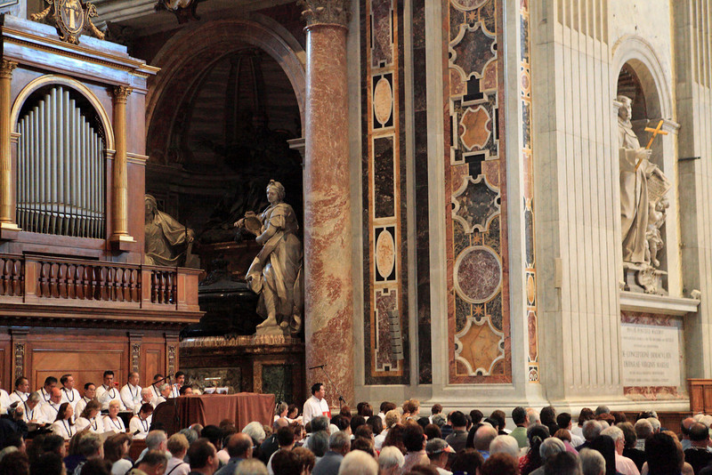 Members of the Hawaii Roman Catholic Church conduct a service for Father Damien in St. Peter's Basilica in Vatican City on October 9, 2009.