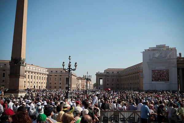 Crowds gather near the obelisk in St. Peter's Square in Vatican City for the canonization of Father Damien on October 11, 2009.