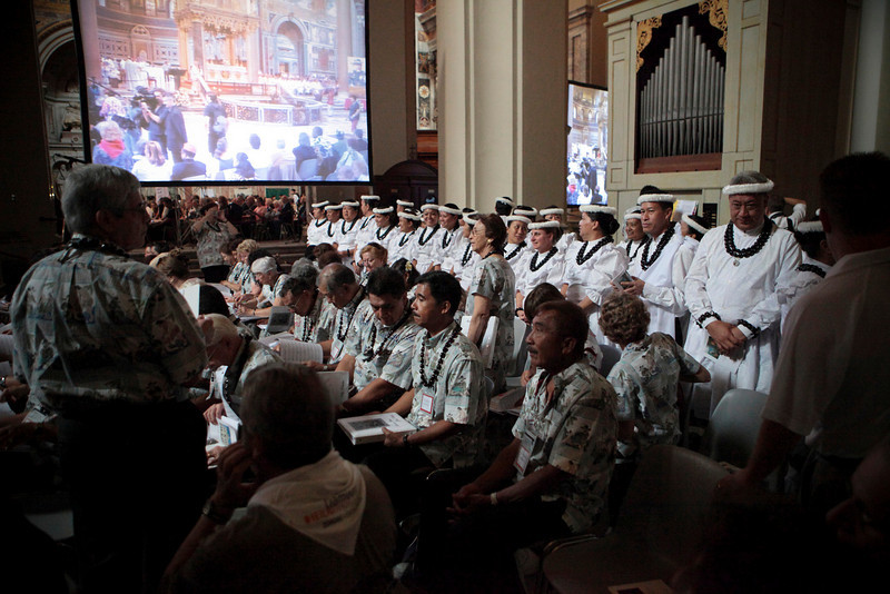 The Hawaii choir and halau attend a mass at the Basilica of St. John Lateran in Rome, Italy on October 12, 2009.