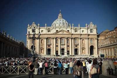 Crowds gather in St. Peter's Square for the canonization of Father Damien in Vatican City on October 11, 2009.