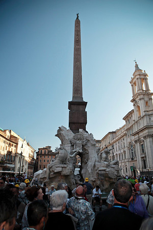 The Hawaii tour makes a stop at the obelisk in Piazza Navona on October 7, 2009, in Rome, Italy.