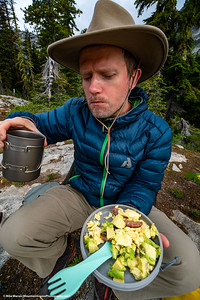 ##23A and 23B – North Cascades National Park.  Tiffany and Mikhail eating in style on a 4 day backpack trip.